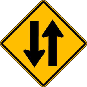 Traffic traveling in two directions sign
