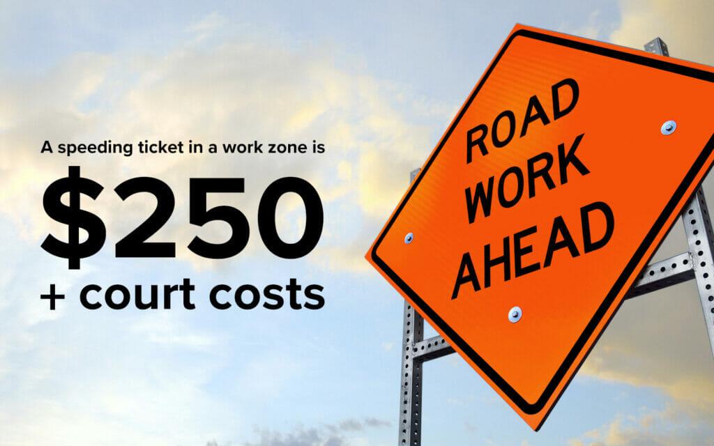 Work Zone Safety: A speeding ticked in a work zone is $250 + court costs