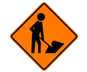 Workers are ahead sign