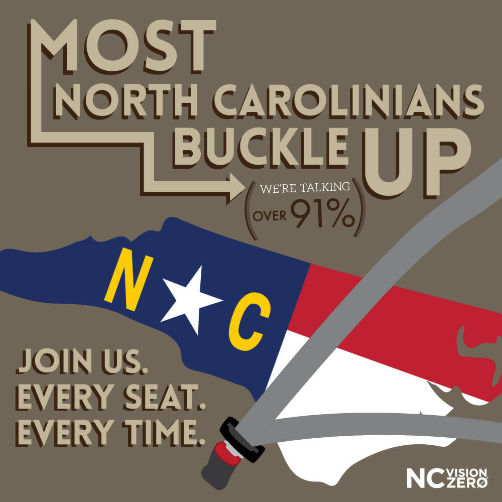 seat belt safety, Most North Carolinians Buckle Up. Join Us. Every Seat. Every Time.