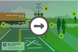 Pedestrian Grade Crossing Illustration, train safety