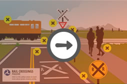 Passive Grade Crossing Illustration, train safety